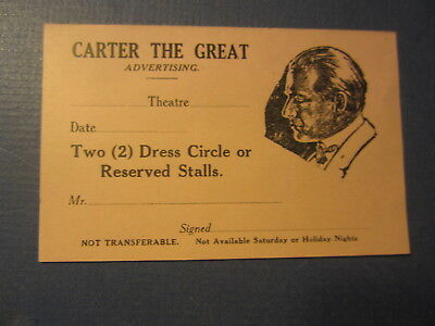 Old Vintage 1920's CARTER The GREAT - Magician - Advertising - Theatre COUPON