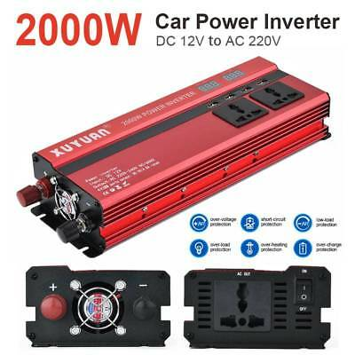2000W Car DC 12V to AC 220V LED Power Inverter Converter 4 USB Port Charger