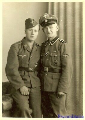 Lg. Port. Photo: RARE German ELITE Waffen Scharführer Father & Luftwaffe Son!!!