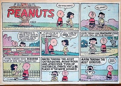 Peanuts by Charles Schulz - large half-page color Sunday comic - June 9, 1957