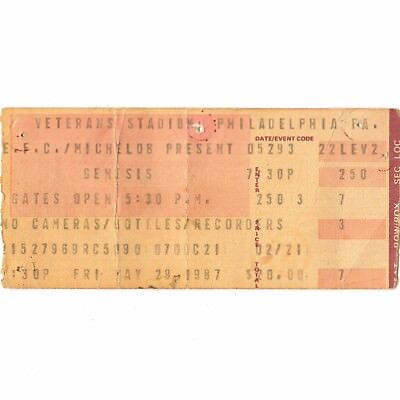 GENESIS & PAUL YOUNG Concert Ticket Stub PHILADELPHIA PA 5/29/87 INVISIBLE TOUCH
