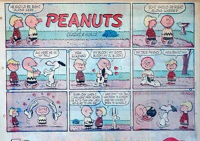 Peanuts by Charles Schulz - large half-page Sunday color comic - Dec. 15, 1957