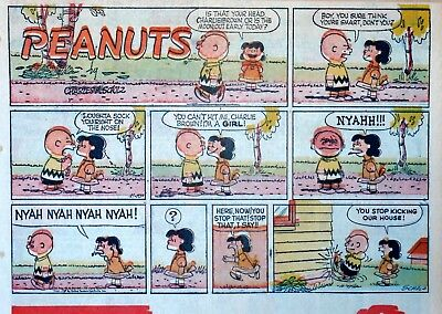 Peanuts by Charles Schulz - large half-page Sunday color comic - Nov. 10, 1957