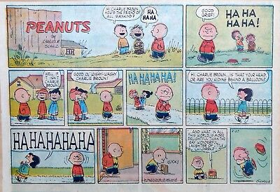 Peanuts by Charles Schulz - large half-page color Sunday comic - Feb. 23, 1958