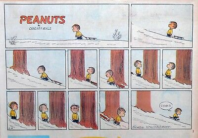 Peanuts by Charles Schulz - large half-page color Sunday comic - Feb. 9, 1958