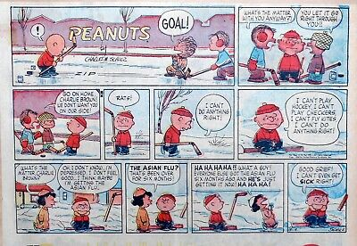 Peanuts by Charles Schulz - large half-page color Sunday comic - March 9, 1958