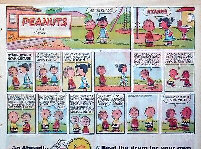 Peanuts by Charles Schulz - large half-page color Sunday comic - Nov. 8, 1959