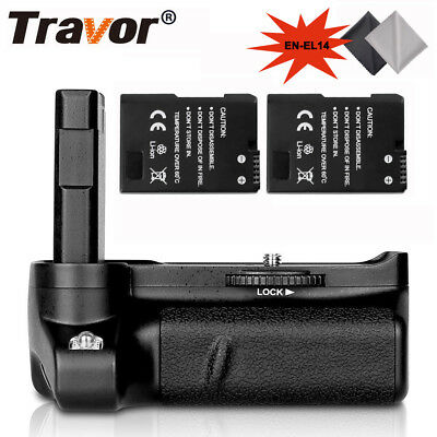 Battery Grip + 2PCS EN-EL14 Batteries Pack Set For Nikon D3400 DSLR Camera New