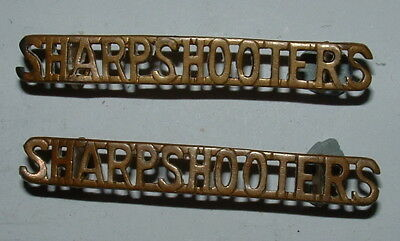 SHARPSHOOTERS (3rd-4th COUNTY OF LONDON YEO) RARE PAIR SHOULDER TITLES