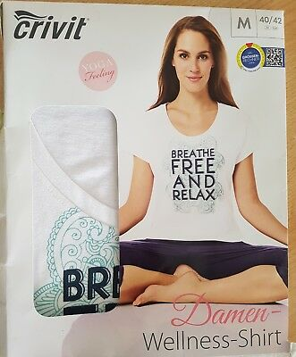 Crivit Damen Wellness Shirt Yoga Feeling weiss Gr. S 36/38 Neu