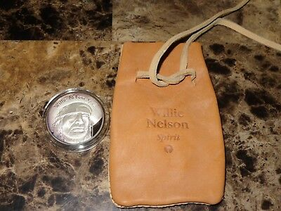 Willie Nelson Rare Promo Spirit 1 OZ 999 Silver Coin Leather Bag Island Records