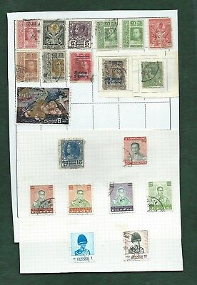 Thailand Siam nice lot of old stamps on album pages (a)