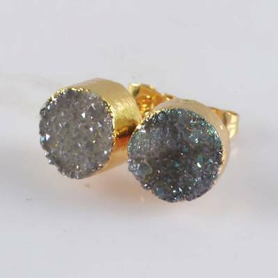 10mm Round Natural Agate Titanium Druzy Stud Earrings Gold Plated H120641