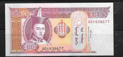 MONGOLIA #63b 2002 UNC MINT 20 TUGRIK BANKNOTE PAPER MONEY CURRENCY NOTE