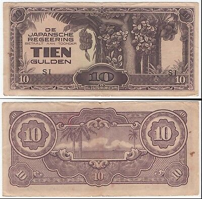 Japanese - 10 Gulden Bank Note  - Fair Circulated / Creases