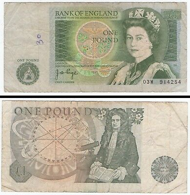 Uk ''  One Pound Bank Note '' 03W914254 '' Well Circulated / Creases