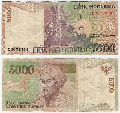 Indonesia - 5000 Rupiah Bank Note  ''  0B0079084 '' Well Circulated / Creases