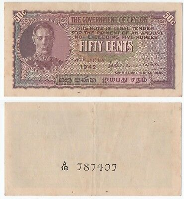Ceylon - Fifty Cent Bank Note   ''  A18 787407  '' 1942  -  Vg Condition.
