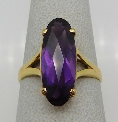 VINTAGE Solid 14k Yellow Gold / 15 CT Amethyst Ladies Ring Size 7.5