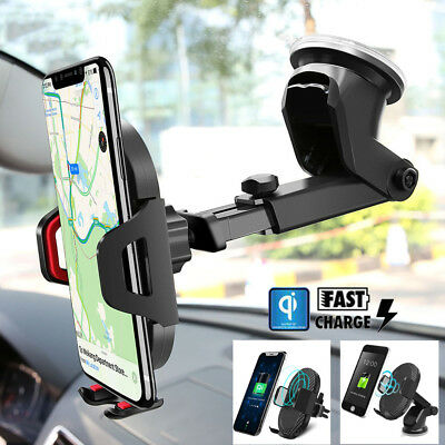 10W FAST Qi Wireless Charger Car Holder Stand For iPhone X 8 Plus Samsung Note 9