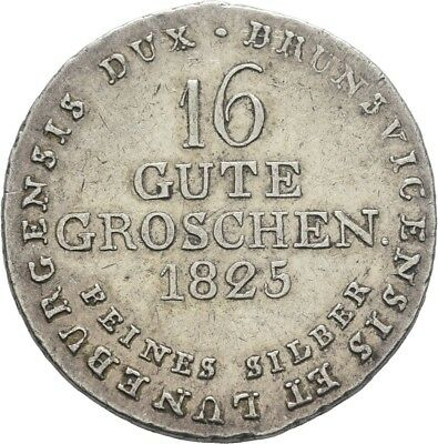 LANZ Hannover Georg IV 16 Gute Groschen 1825 Sachenross Silber €HED686