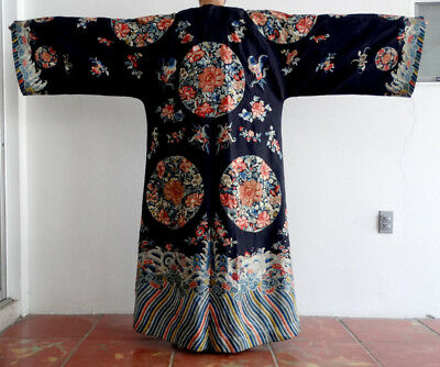 19th Cent. ANTIQUE Vintage CHINESE Embroidered Silk MANDARIN Kimono ROBE Coat