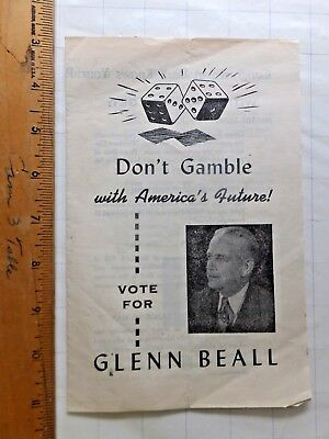 1948 Re-Election Pamphlet for Glen Beall, Maryland 6th District Congressman