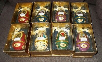 Lot of 8 Mr.Christmas, Valerie Music Box Egg Ornaments with boxes