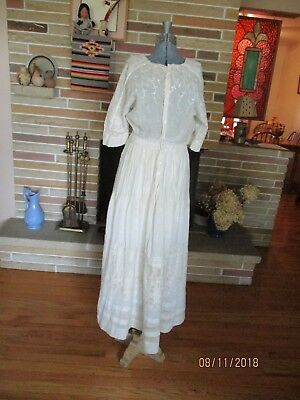 Antique white dress with lace & embroidery Edwardian era