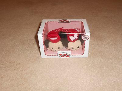 New, Disney Store Mickey & Minnie Mouse Chocolates Plush Set 2 Mini Tsum Tsum