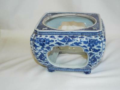 Antique Chinese blue white handpainted porcelain vase or bowl stand.