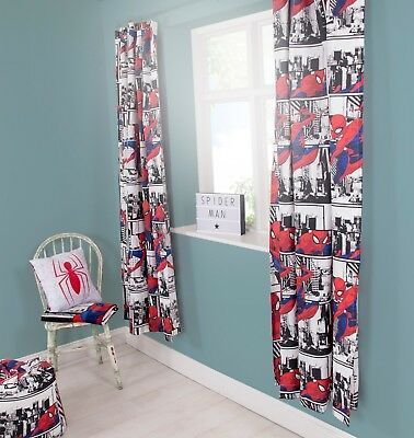 SPIDERMAN 'METROPOLIS' DESIGN CURTAINS PAIR - BOYS KIDS CHILDREN - 66 x 72 Inch