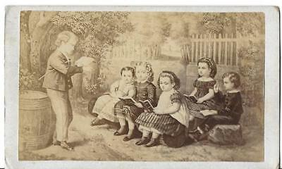 Antique Photo * Artists Drawing *  Playing School * Cdv Sized *