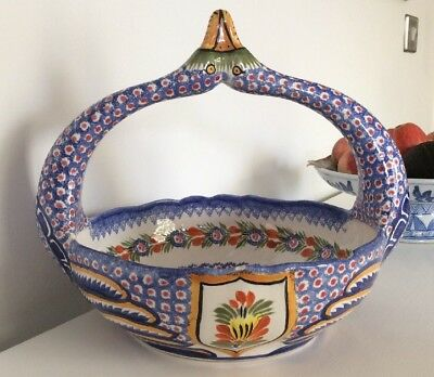 Rare Large Henriot Quimper French Swan Bowl 1960s