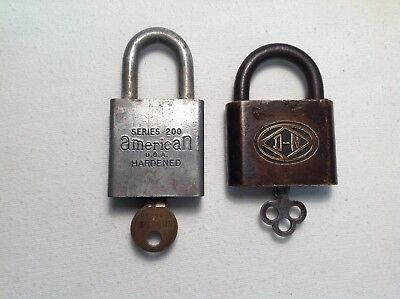 "TWO  (2) Vintage Padlocks With Keys-American Series 200 & Brass ""D N"" In Diamond"