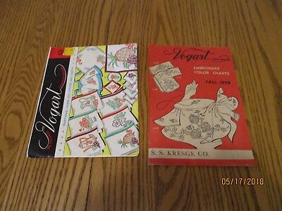 1950's vintage Vogart embroidery transfer patterns + embroidery color chart