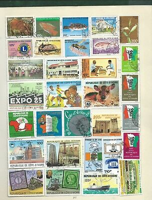 Ivory Coast Cote D'Ivoire 97 modern stamps on album pages MH and used