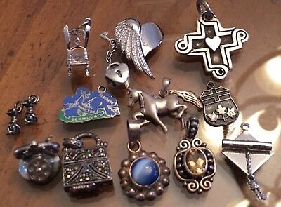 Lot Of Vintage Solid Sterling Silver Charms Pendants 42 Grams  Z-424