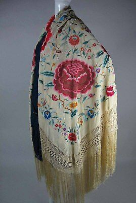 Pristine Antique Canton Shawl Manton De Manila W/ Original Manila Wax Stamp Tags