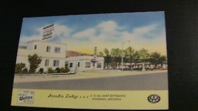 Kingman, Arizona ROUTE 66 Postcard ARCADIA LODGE Motel Roadside Linen 1950's AZ