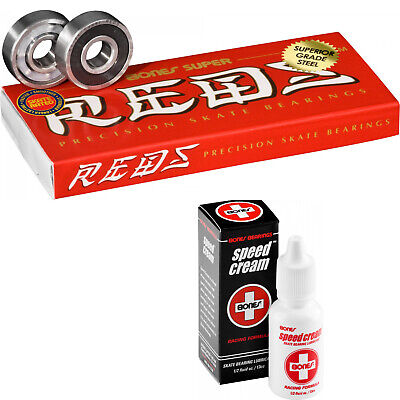 Bones Super Reds Skateboard Bearings with Speed Cream