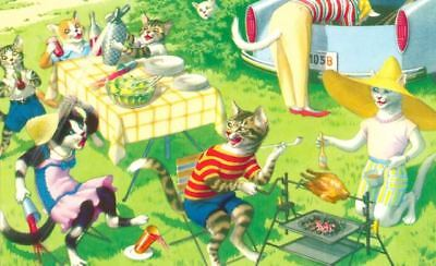 Vintage Postcard 4892 Cat Picnic Alfred Mainzer Printed in Turkey Mint