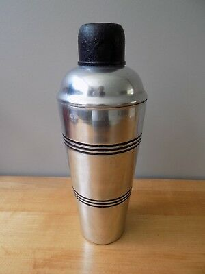 vtg ART DECO MACHINE AGE ERA ALUMINUM BAR COCKTAIL SHAKER