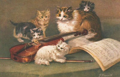 A/S VINTAGE POSTCARD ~ KITTENS AT PLAY Cats VIOLIN Music DARLING IMAGE!