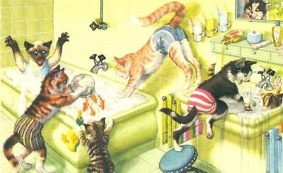Vintage Comic Postcard 4971 Cats at Bath Time Mainzer Mint Printed in USA