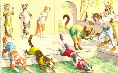 Vintage Comic ALMA Postcard 4953 Cats at Swim Meet Mainzer Mint Printed in USA