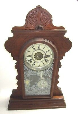 "Antique Waterbury ""Suffolk"" Parlor Shelf Clock Time Strike Alarm"