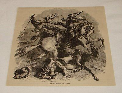 1876 magazine engraving ~ AT THE BATTLE OF NASEBY