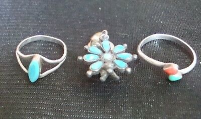 Lot of (2) Vintage Silver Turquoise Rings with one Sancrest R clip on earring