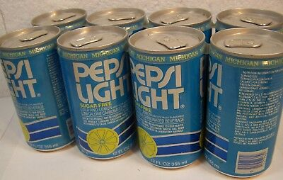 vtg PEPSI LIGHT SODA POP CANS Cancer Warning Saccharin empty 8 pack ADVERTISING